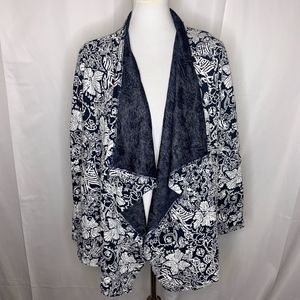 Kut From The Kloth Navy Blue Floral Cardigan